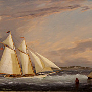 "William R. Davis Marine Oil Painting ""Traffic in the Channel"""
