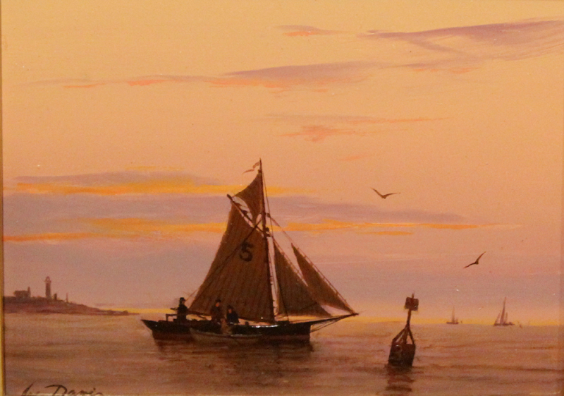 "William R. Davis Marine Oil Painting ""Last Catch of The Day"""
