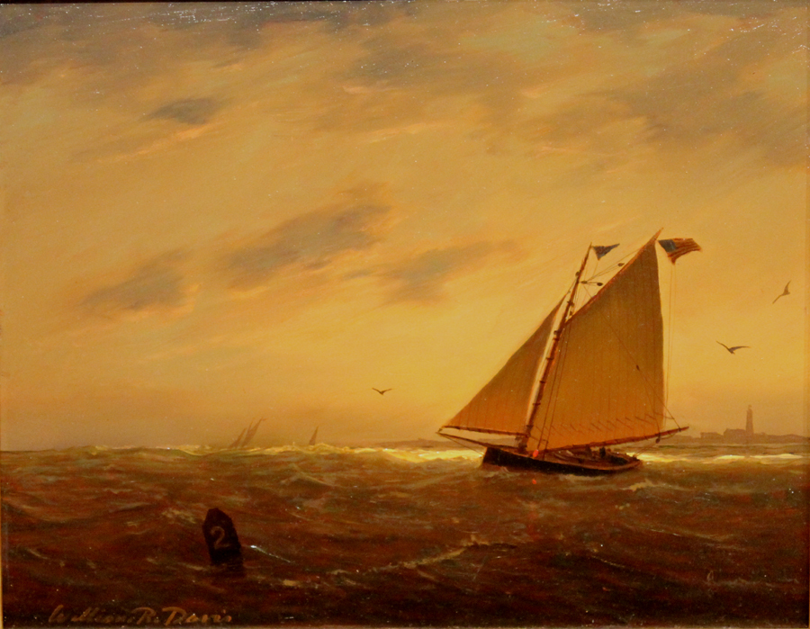 "William R. Davis Marine Oil Painting ""Heading In"""