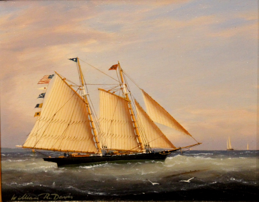 "William R. Davis Marine Oil Painting ""Catching a Fair Wind"""