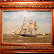 19th c Hand Painted Ship Diorama