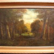 19th c. Barbizon Oil Painting Landscape with Figure