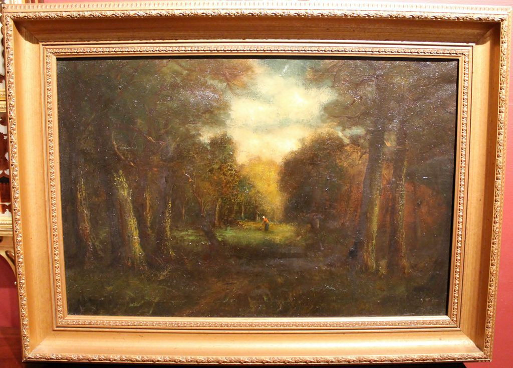19th c. Barbizon Oil Painting Landscape with Figure