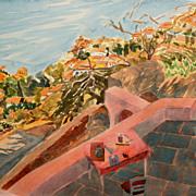 Susan Louise Shatter Watercolor Coastal Scene with Figure #1
