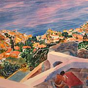 Susan Louise Shatter Watercolor Coastal Scene with Figure #2