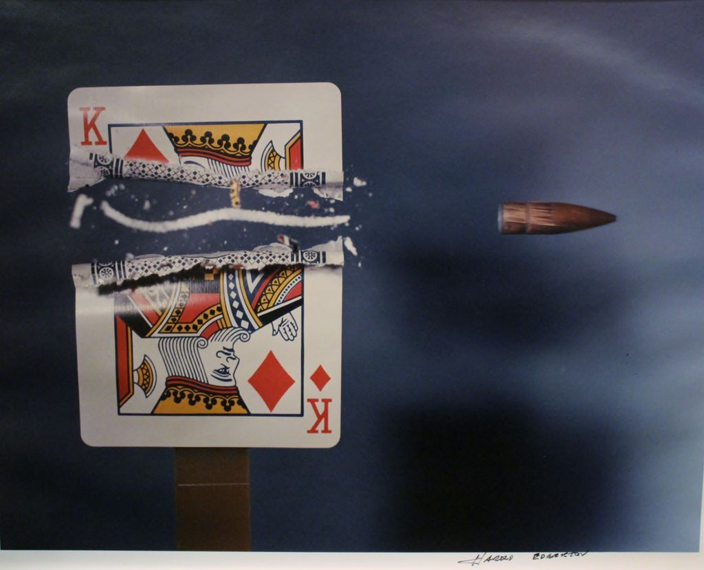 "Harold Edgerton Photograph ""Bullet Through King, 1964"" MIT"