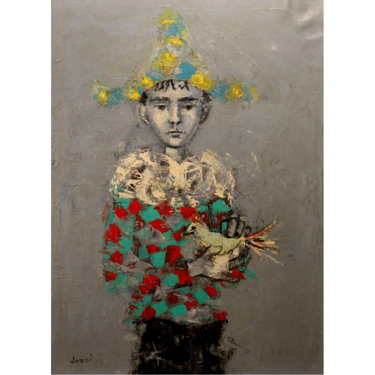 Jordi Mercade Farres Oil Painting of Boy & Bird