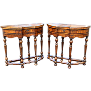 Pair of 19th c Diminutive English George II Style Walnut Game Tables
