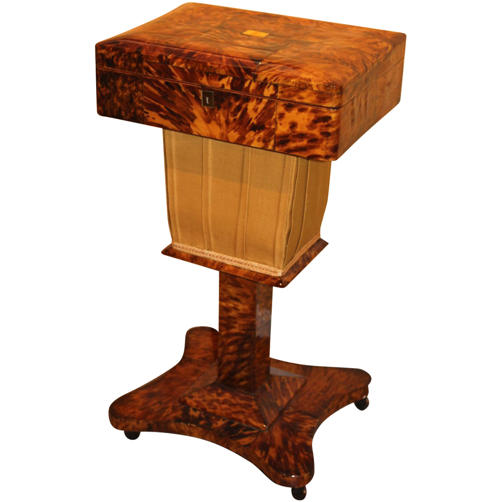 Tortoise Shell Sewing Box on Stand circa 1860