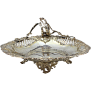 Silver 19th c European Rococo Footed Basket with Handle