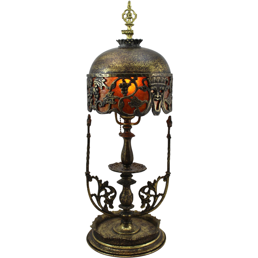 Oscar Bach Brass Boudoir Lamp with Two Faces of Bacchus from ...