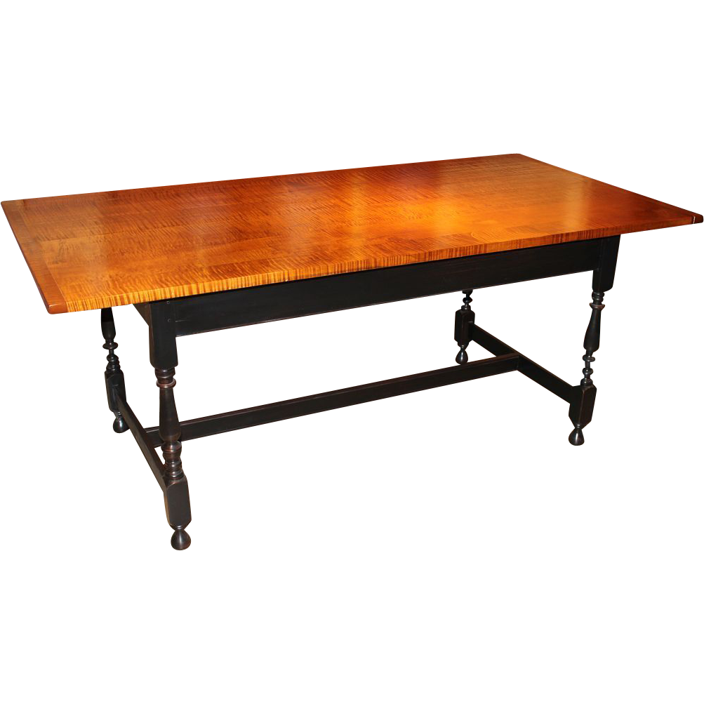 Jason Samuel Bench Made Tiger Maple Dining Table in the William and Mary style