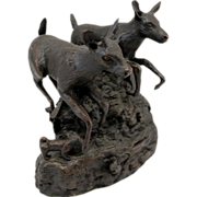 Barbara Faucher Signed Bronze Sculpture Deer Running NH