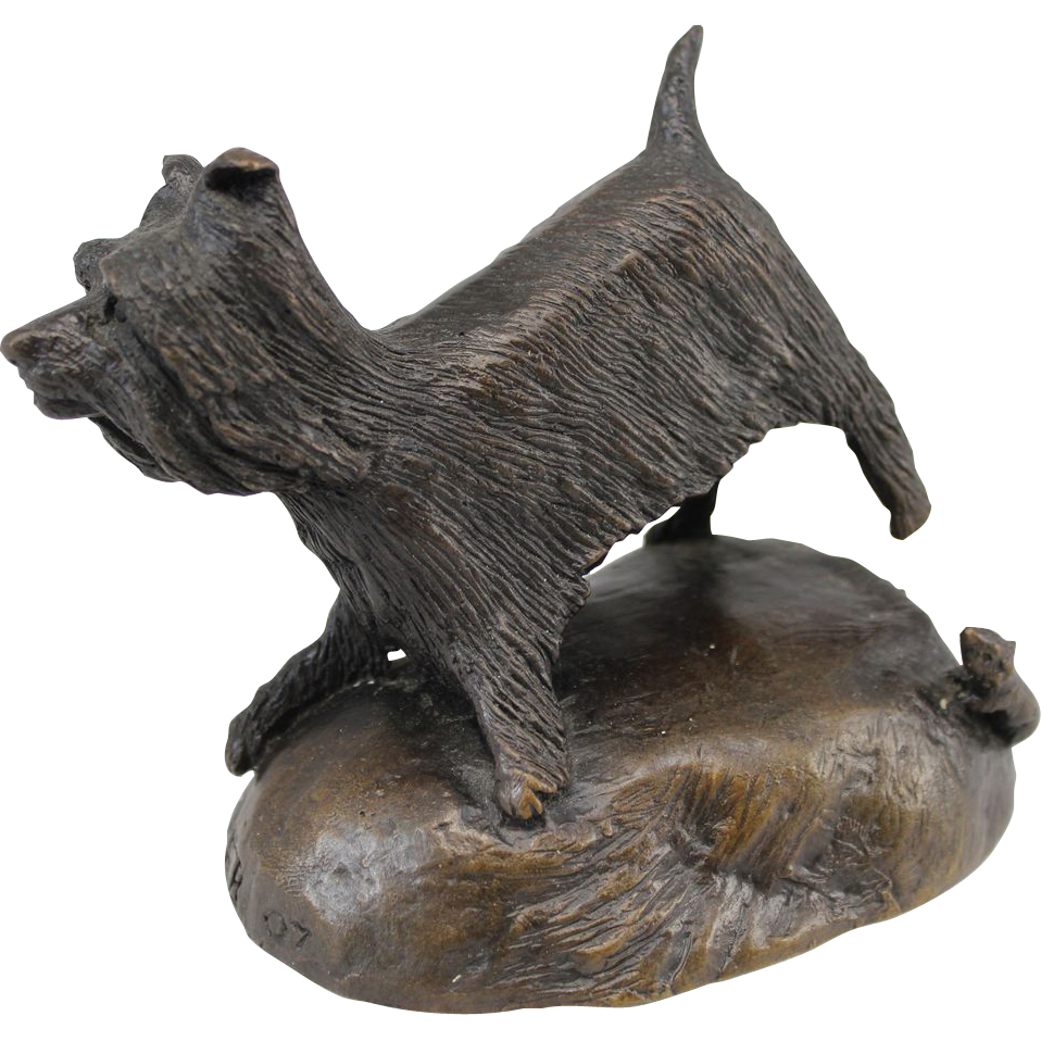 Barbara Faucher Signed Bronze Sculpture Scottie Dog Scottish Terrier NH