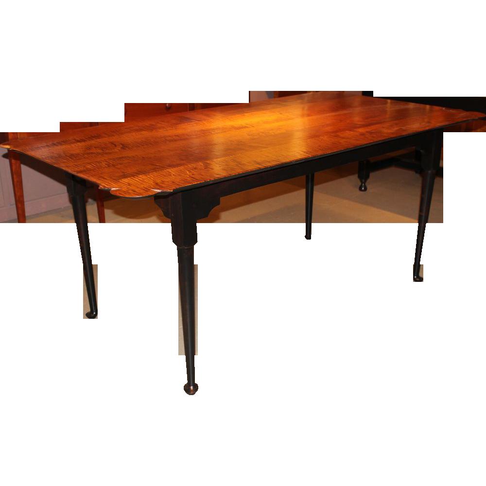 Jason Samuel Bench Made Tiger Maple Porringer Top Dining Table