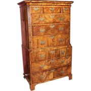 English George II Burled Walnut Chest on Chest circa 1760