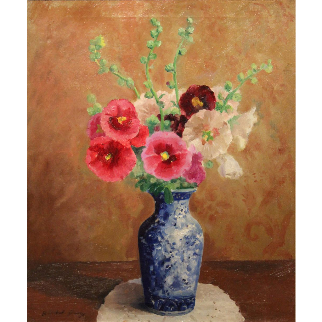 Randall Vernon Davey Oil Painting Still Life Flowers in  Blue Vase