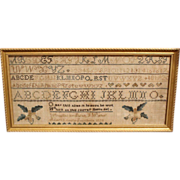 1834 Sarah Walker Southboro MA Framed Sampler