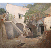 Early 20th c Impressionist Oil Painting Stucco Exterior Courtyard