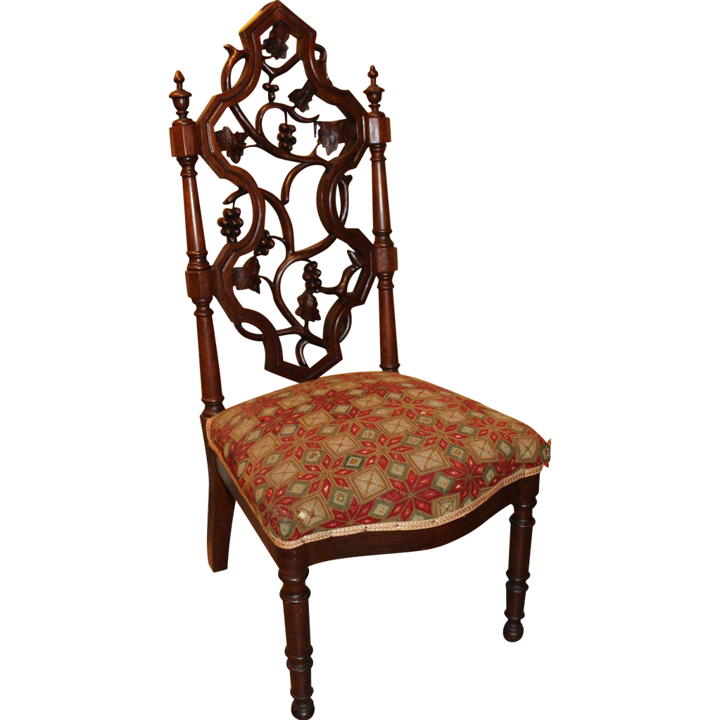 Victorian Walnut Slipper or Child's Side Chair in Grapevine Motif