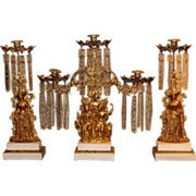 3 Piece 19th c American Girandole Set with Figures