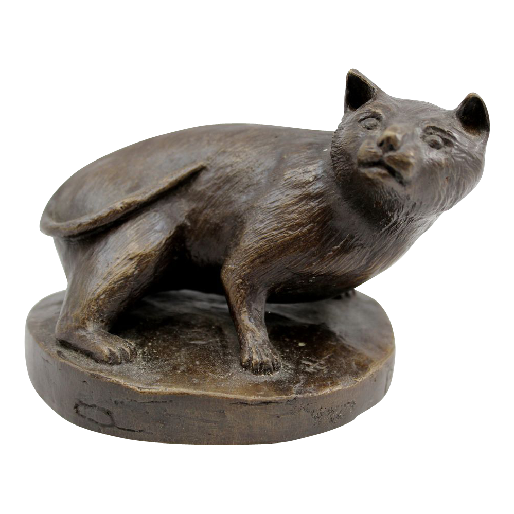 Barbara Faucher Signed Bronze Sculpture of a Crouching Cat NH