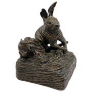 Barbara Faucher Signed Bronze Rabbit Sculpture NH
