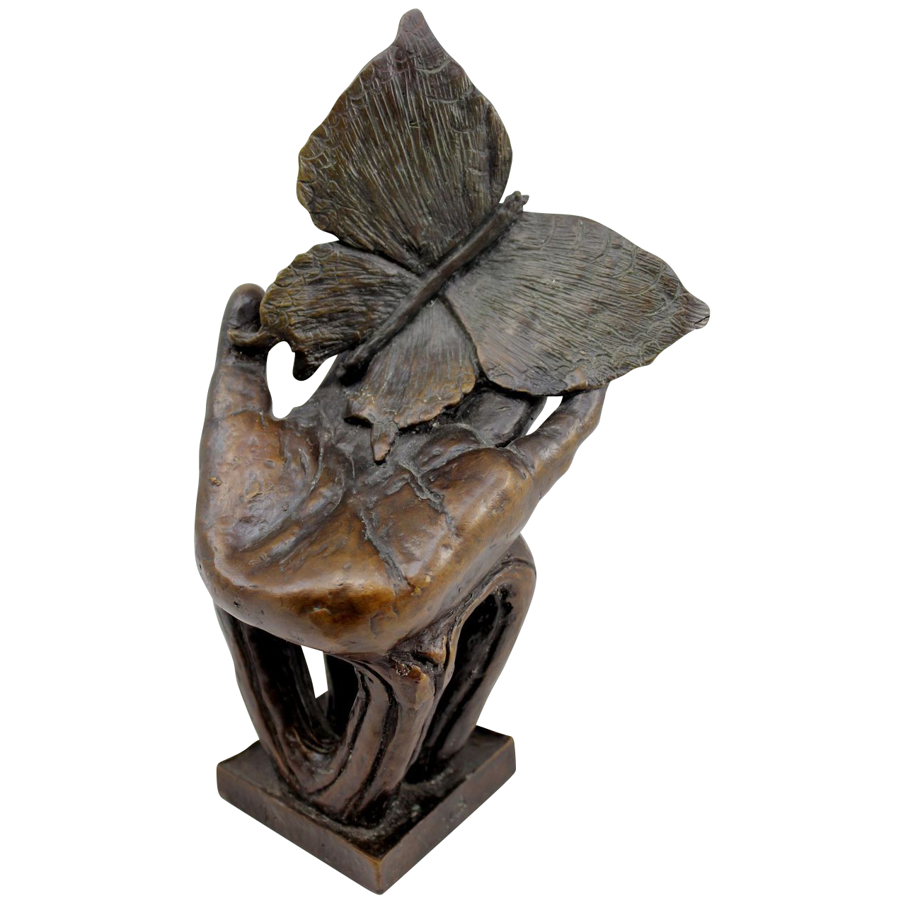 Barbara Faucher Signed Bronze Hand with Butterfly Sculpture NH