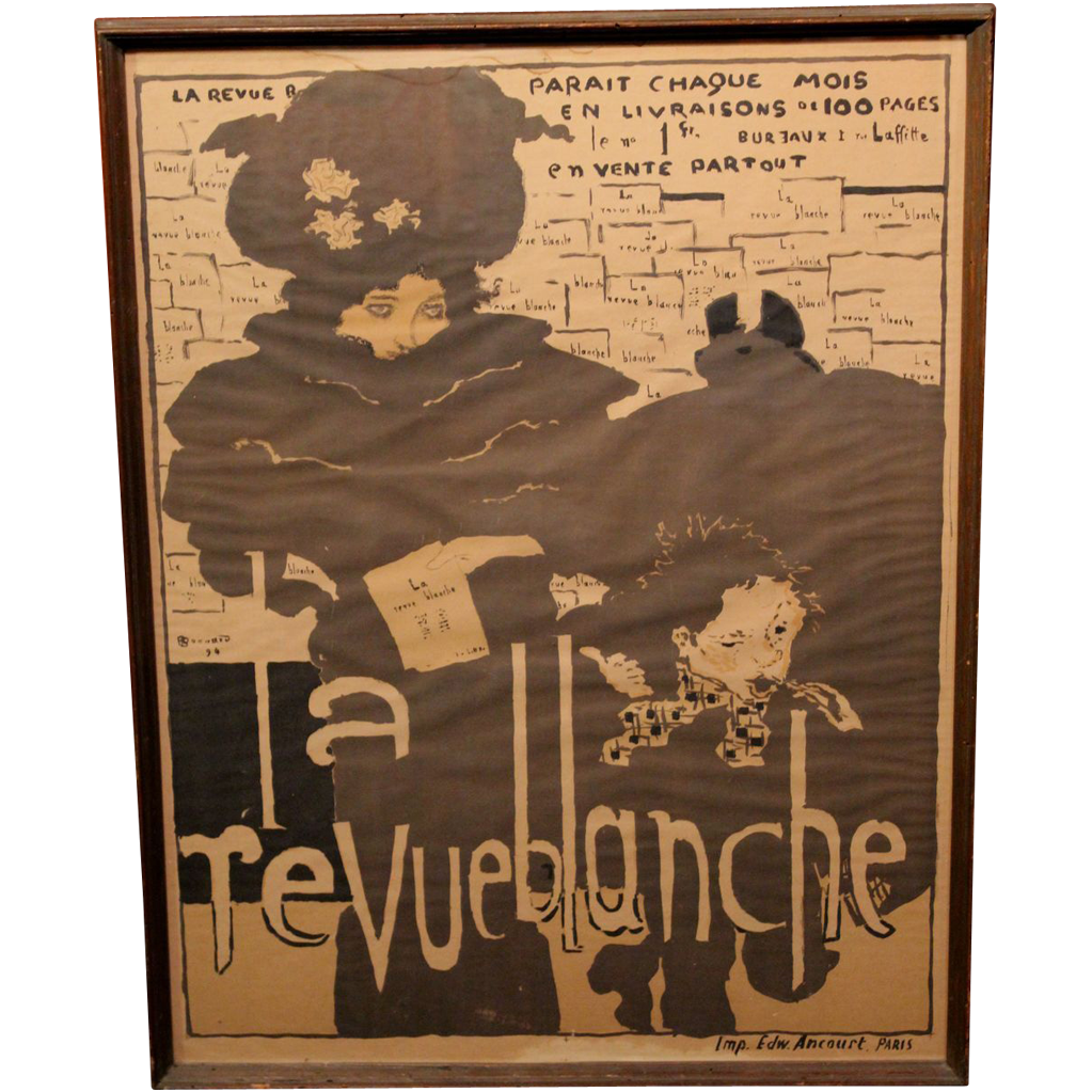"""Rare 1894 Original Lithograph of Poster by Pierre Bonnard """"La Revue Blanche"""""""