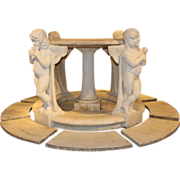 Early 20th Century Italian Carrara Marble Bird Bath with Cherubs