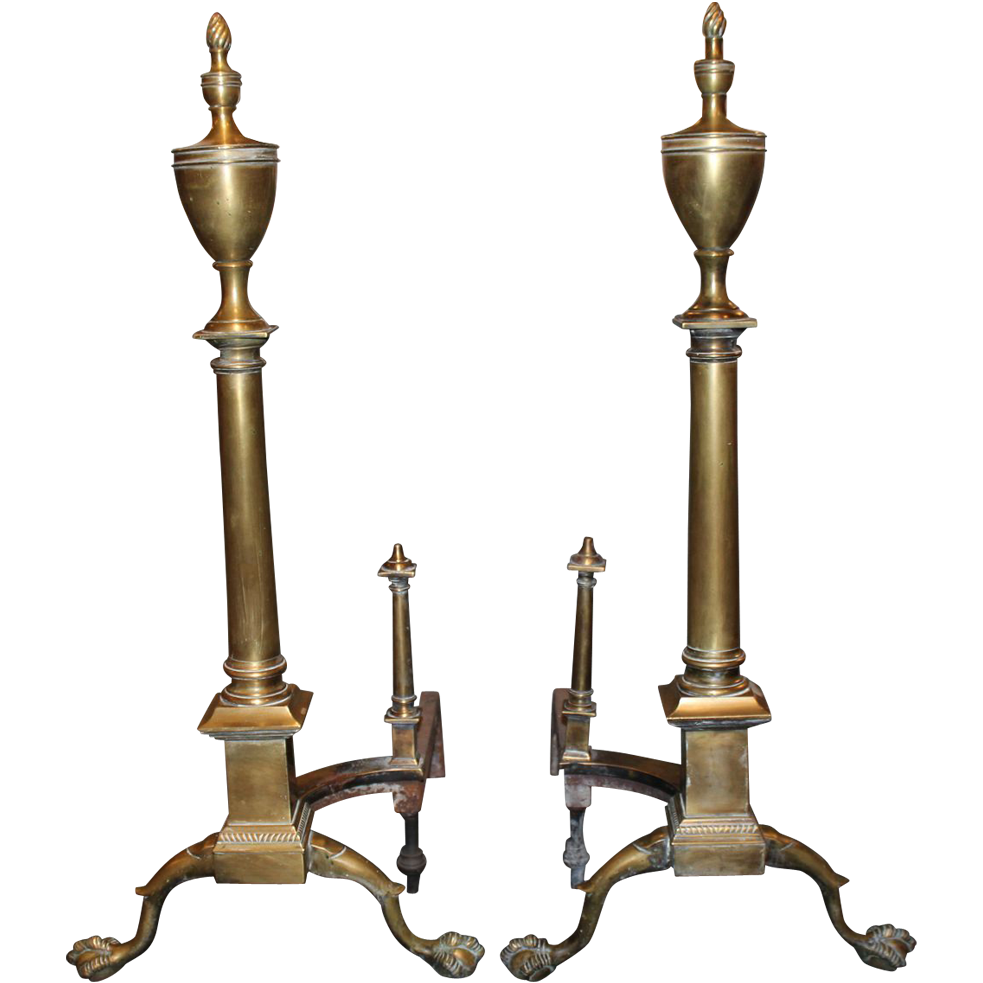 Early 20th C Chippendale Style Brass Andirons With Flame