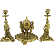 19th c French Brass Desk Set