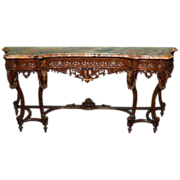 20th Century Rococo Marble Top Console Table