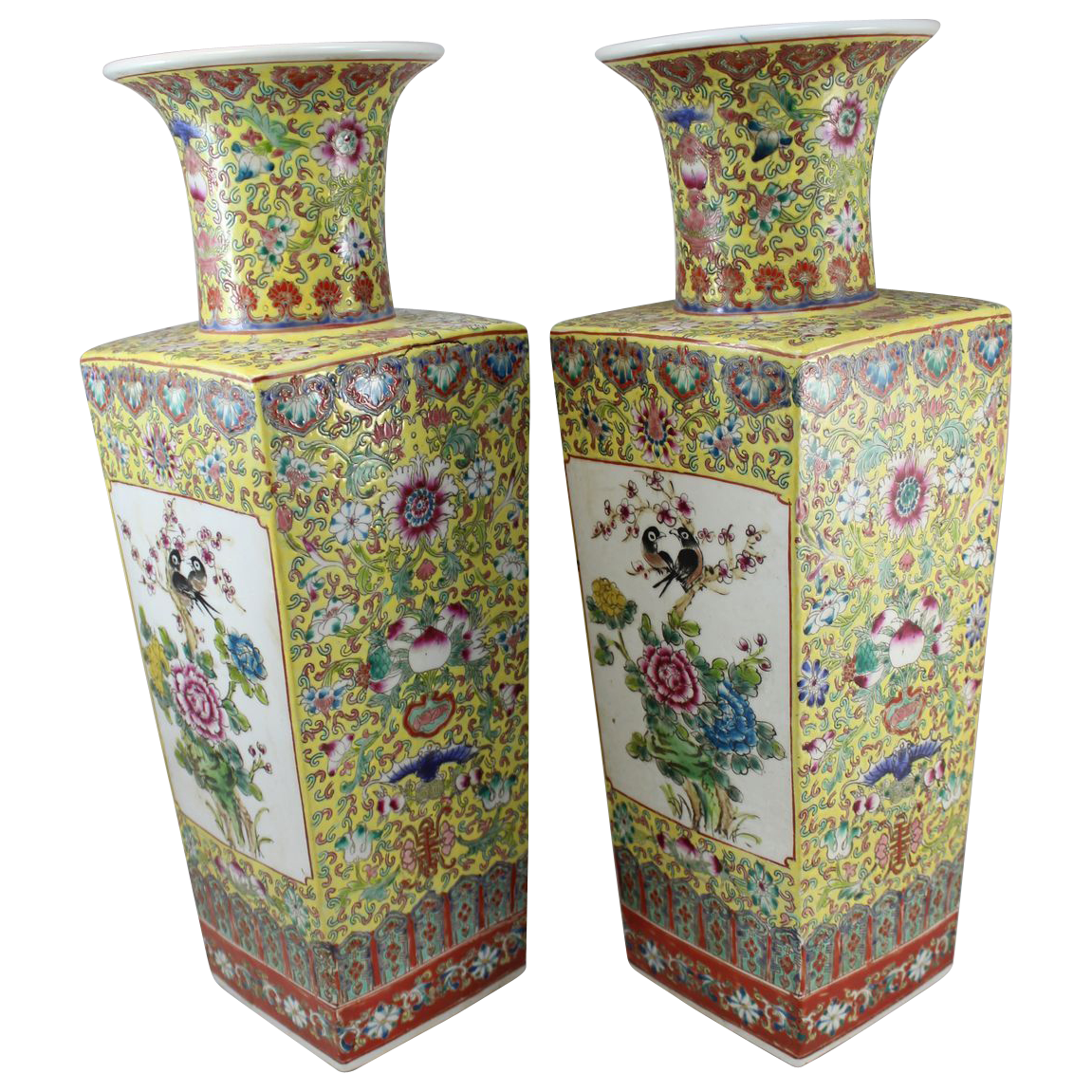 Pair of Chinese Porcelain Vases, Peonies and Peacocks, Yung Cheng mark