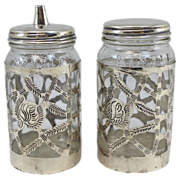 Pair of Nestle Covered Glass Jars with Sterling Silver Overlay