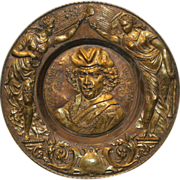 Late 19th c  Rembrandt Van Ryn Brass Roundel Portrait Plaque