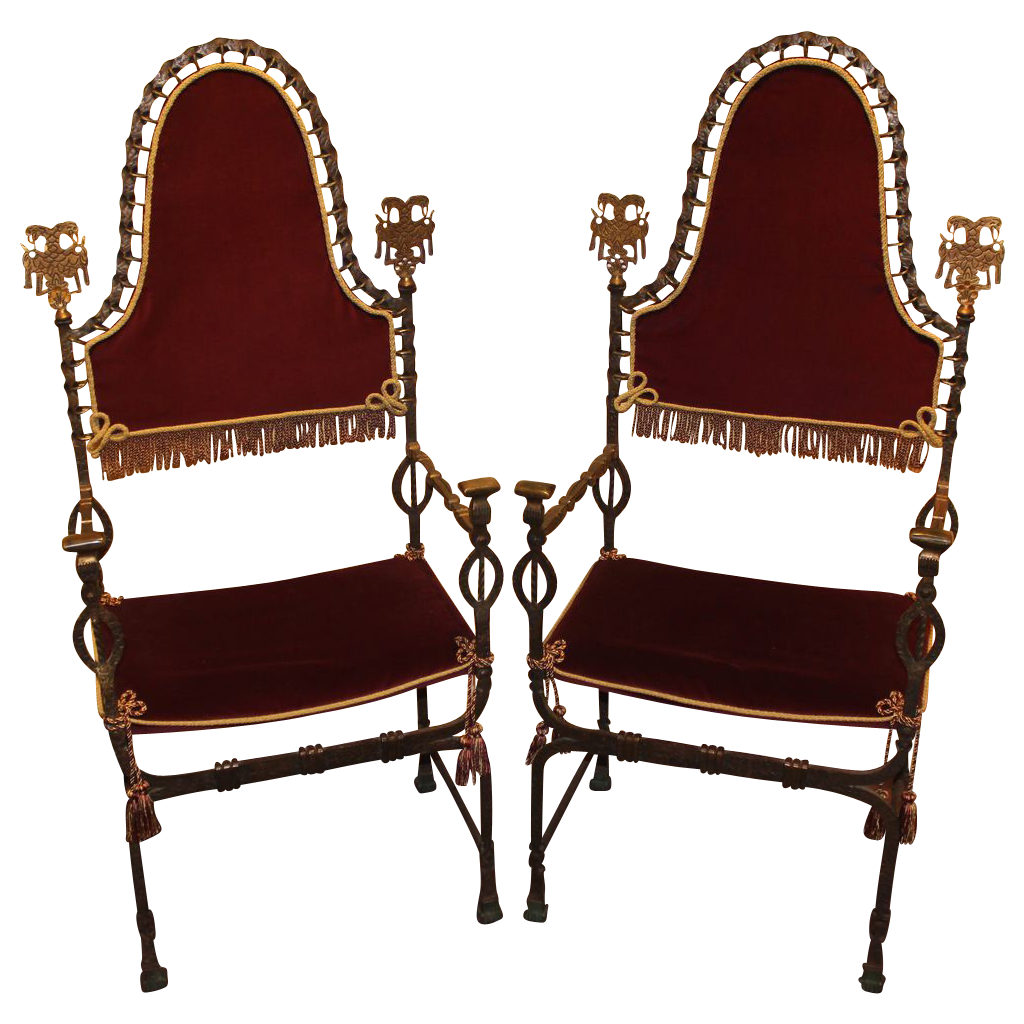 Early 20th c Pair of Metalwork Chairs in the manner of Oscar Bach