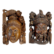 Pair of 20th c Asian Rosewood Carved Masks with Inlay