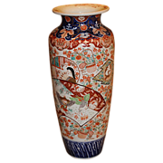 19th c Large Japanese Imari Vase with Bird Costume Decoration