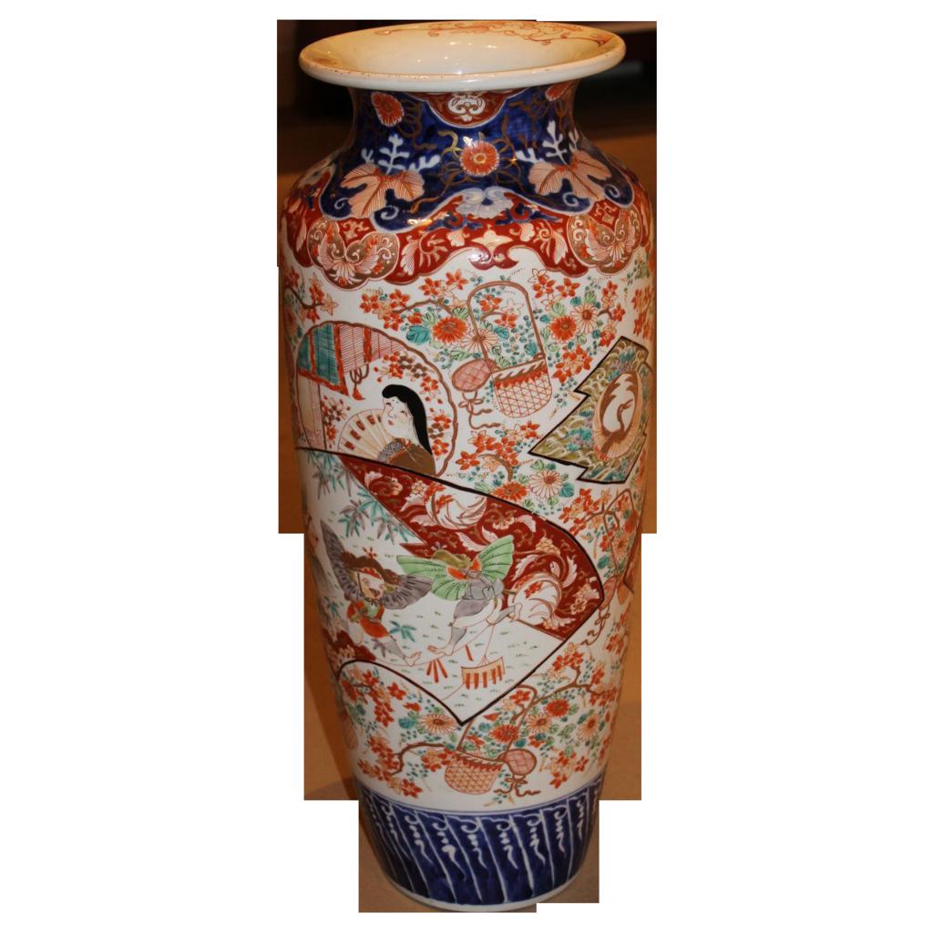 19th c Large Japanese Imari Vase with Bird Costume Decoration