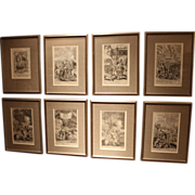 Set of 8 17th c European Fire Related Wood Engravings by G.Freeman