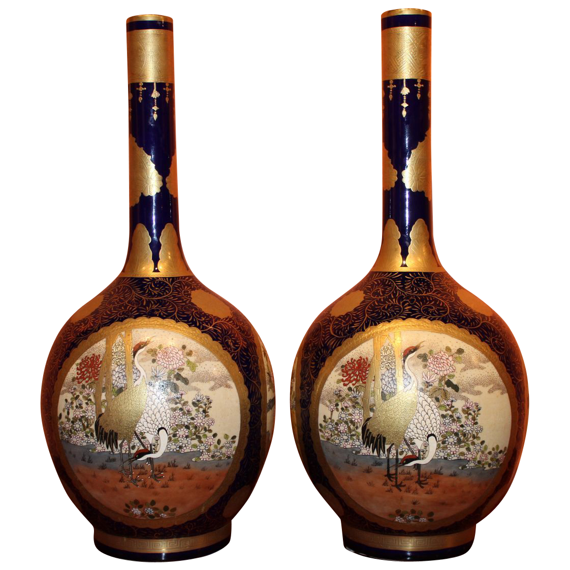 Pair of Japanese Satsuma Cobalt Vases with Cartouches of Birds