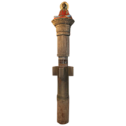Column with Effigy of Kubla Khan with Polychrome Decoration, Dated 1928