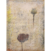 "Jessie Pollock Encaustic Mixed Media Painting on Panel ""Sensitive Silence III"""
