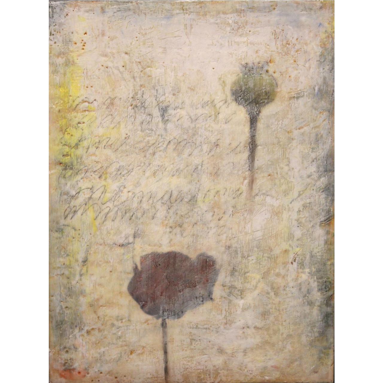 "Jessie Pollock Encaustic Mixed Media Painting on Panel ""Sensitive Silence III"""