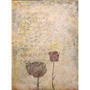 "Jessie Pollock Encaustic Mixed Media Painting on Panel ""Sensitive Silence IV"""