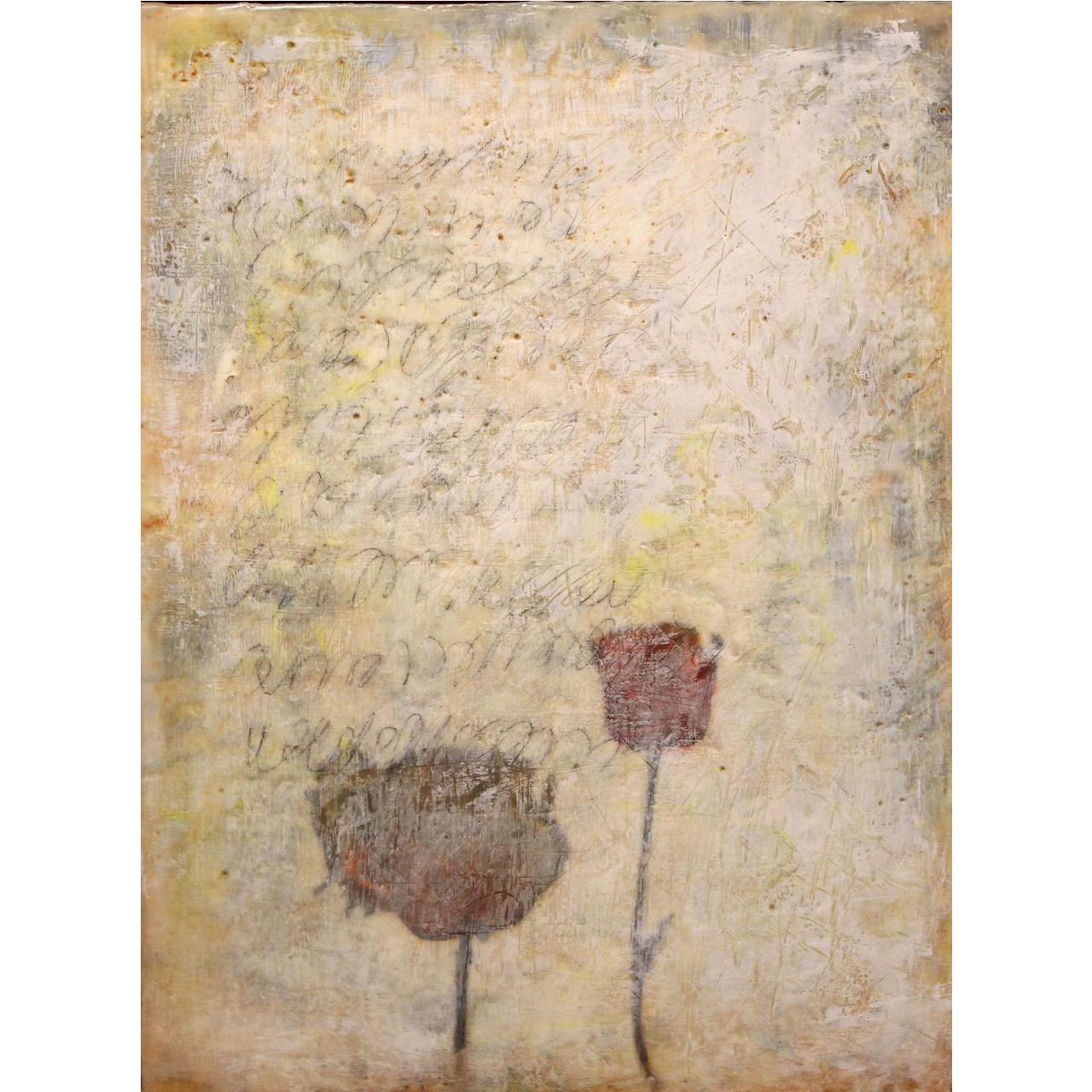 "Jessie Pollock Encaustic Mixed Media Painting on Panel ""Sensitive Silence IV"""