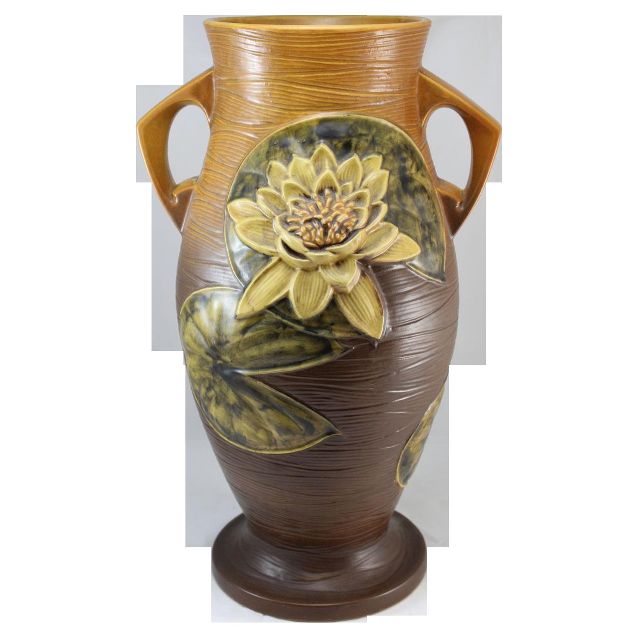 "Roseville Water Lily 85-18"" Floor Vase From Nhantiquecoop"