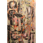 "George M. Cohen Abstract Mixed Media Painting ""Totems"""