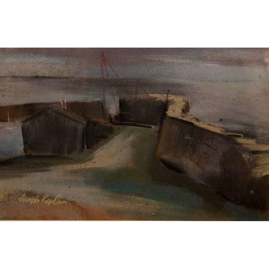 Joseph Kaplan Pastel Painting Harbor Scene
